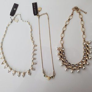 NWT [SET OF 3] ANNE KLEIN pearl &crystal necklaces